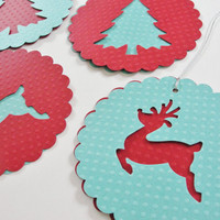 Paper Christmas Tree Reindeer Scalloped Round Gift Tags, Red Teal Round Paper Holiday Reindeer Cut Outs, Large Christmas Gift Tags, Set of 4