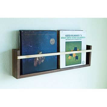 Magazine & Vinyl Wall Rack // Wall Mounted Wooden Minimalist Modern Storage for Magazines or Record Records LPs
