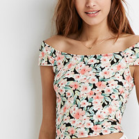 Off-the-Shoulder Floral Crop Top