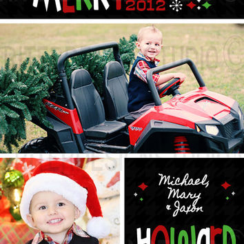 Red Green Black Fun Personalized Christmas/Holiday Card - Printable