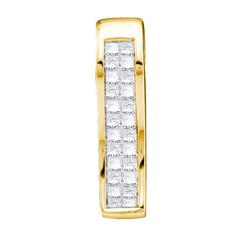 Diamond Ladies Invisible Set Pendant in 14k Gold 0.24 ctw