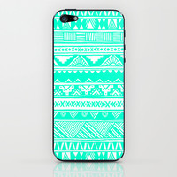 Turquoise White Tribal Geometric Pattern  iPhone & iPod Skin by hyakume
