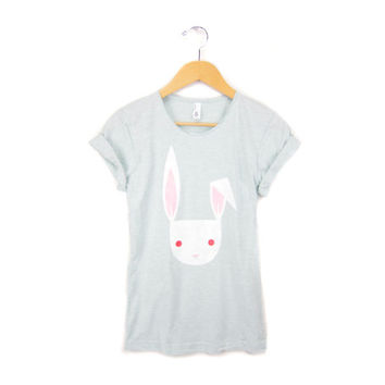 Geo Rabbit - Hand STENCILED Scoop Neck Pinned Rolled Cuffs Women's Tee in Albino White and Heather Mint - S M L XL 2XL 3XL