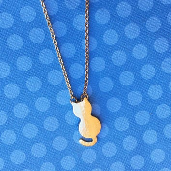 """Dainty Doll Collection """"Dainty Kitty"""" Small Cat Necklace Gold Minimalist Jewelry"""