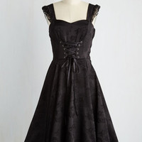 Steampunk Sleeveless Fit & Flare Moxie-turvy Dress in Noir