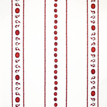 Christmas tablecloth white red Elfs Tomte Apples Scandinavian Design ,also napkins , runner , curtains , pillows available, great GIFT