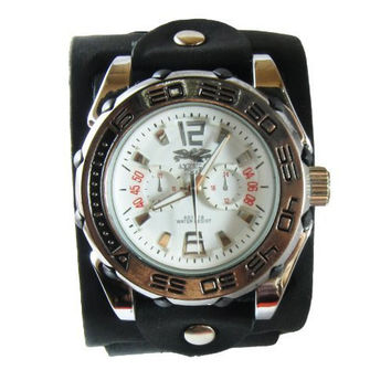 "(WBL001) 2"" Wide Handmade Black Punk Rock Biker Leather Cuff Wrist Watch Band - Adjustable"