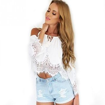 Lace Blouse Shirt Women Summer Chiffon Blouses 2017 New Off Shoulder Long Sleeveless Solid Hollow Out White Black Lace Top Femal