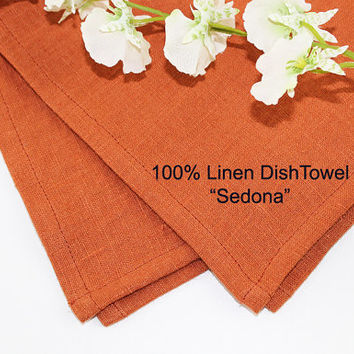 "Sedona Linen Dish Towel or Tea Towel, 100% Linen Dish Towel, Autumn Pure Linen Tea Towel, 16""x25"""