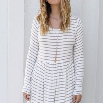 Cool Girl Cool Gray Striped Dress