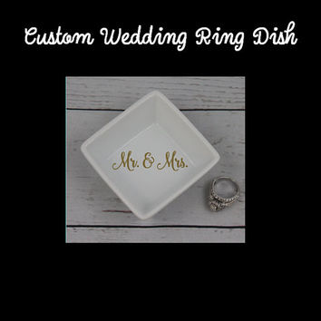 Mr & Mrs Ring Dish - Square Wedding Ring Tray Porcelain Ceramic White Wedding Bands Holder with Decal Mr and Mrs