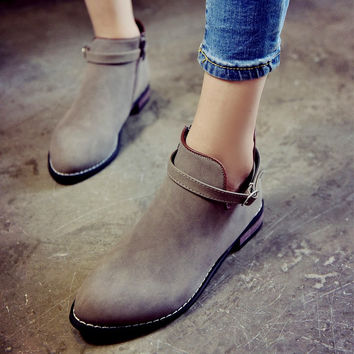 Leisure Flat Pointed Belt Buckle Ankle Boots
