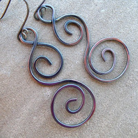 Copper Earrings Hammered Long Swirl Mixed Metal Earrings Under 20