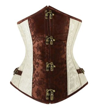 Vocole Sexy Retro Gothic Steampunk Underbust Buckle Up Corset and Bustier Waist Trainer Corselet Body Shaper Basque