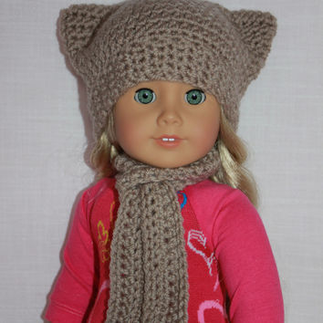 18 inch doll clothes, crochet beanie cat ear hat, matching long scarf, Upbeat petites