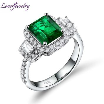 Amazing  Emerald Engagement Rings Solid 18K White Gold Natural Diamond Genuine Gemstone Fine Jewelry for Women Birthday WU228