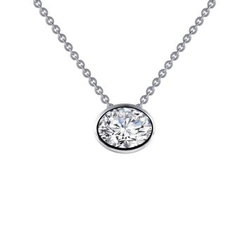 Lafonn Sterling Silver Bezel Set Oval Solitaire Simulated Diamond Necklace