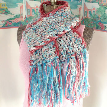 Crochet Cotton Candy Scarf, Aqua White Pink, Pastel, Cottage Chic, Soft like a Rag Rug, Spring