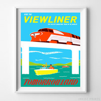 Vintage Disneyland Poster Ride The Viewliner Disney Wall Art Home Decor UNFRAMED by Inkist Prints