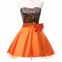 strapless hunter orange camo bridesmaid dresses short 2017  size 0 custom make free shipping