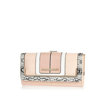 River Island Womens Pink and snakeskin color block purse