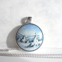 Hand Painted Winter Necklace, Landscape Pendant, Winter Jewelry, Painting Winter Landscape, Snow Necklace Bezel, Snow Jewelry by Artdora