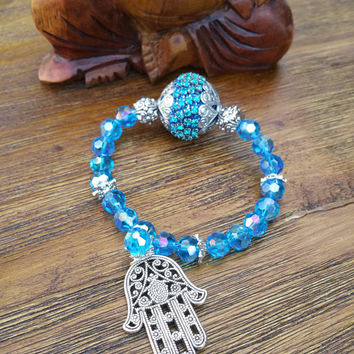 Glam Collection - One of a kind Silver Tone Hamsa Charm/Blue Mixed Beaded Bracelet Hand Made