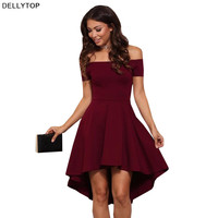 2017 new autumn fashion sexy  ball gown solid red sleeveless mini off the shoulder slash collar high waist women party dress