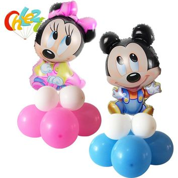 Cute Minnie Mickey Mouse Upright Foil balloons baby shower party 12 inch latex helium Stand Globos Birthday Party Decoration