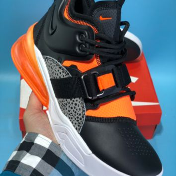 DCCK N607 Nike Air Force 270 Leather Air Cushion Running Shoes Black Orange