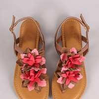Bamboo Oversized Floral T-Strap Slingback Thong Flat Sandal