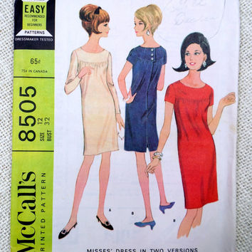 McCall's 8505 vintage sewing pattern 1960s Gathered neckline Mini Mod Groovy Shift Dress Sack 1966 long short Sleeve Bust 32