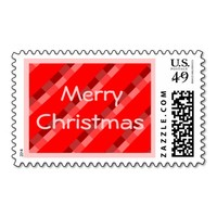 Merry Christmas Red Tartan Custom Postage Stamp