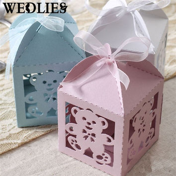12Pcs/Set Hollow Bear Candy Box Paper Cake Boxes Baby Shower Wedding Party Favor Ribbon Gift Bag Events Party Supplies