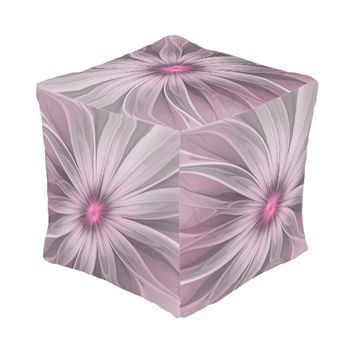 Pink Flower Waiting For A Bee Abstract Fractal Art Pouf