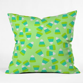 Lisa Argyropoulos Candy Corn Jumble Fang Green Throw Pillow