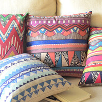 """Single """"Bright Red & Green Geometric Print"""" Throw Pillows Cushion Linen Cotton Covers Eco-Friendly"""
