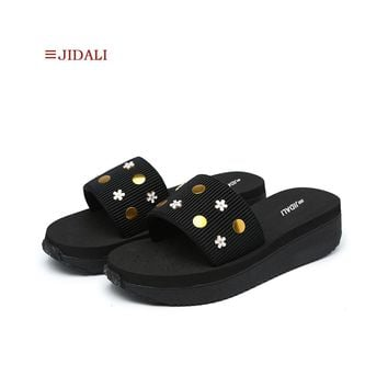 JIDALI Fashion Women's Shoes Platform Wedges Elastic Sweet Flower Black EVA Women Slide Sandal Size 35-40