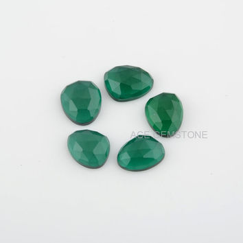 Beautiful Emerald Quartz Checkerboard Faceted Loose Gemstones 10x14 to 12x14 Nugget Flat Back Calibrated Cabochons -5Pcs