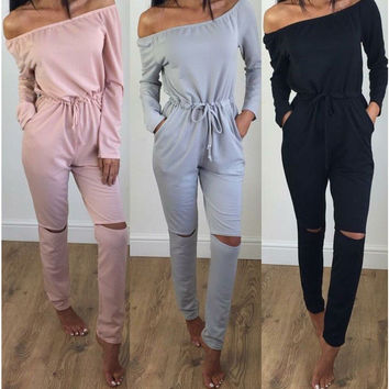 Off the Shoulder Drawstring Waist Cut Out Jumpsuit