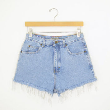 "Vintage 90s High Waisted Shorts Stonewash Denim Distressed Cutoff Hem Light Wash Jeans Festival Concert Wear Size 28"" Waist"