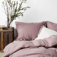 Ashes of Roses Stone Washed Linen Duvet Cover