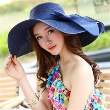b8ba6fe603f Straw Hats For Women's Female Summer Ladies Wide Brim Beach Hats Sexy  Chapeau Large Floppy Sun