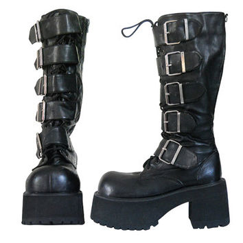 Vintage 90s Platform Boot 90s Goth Boot Unisex Cyber Goth Gothic Boot S and M Black Platform Boot Vegan Boot Buckle Boot Black Lace Up Boot