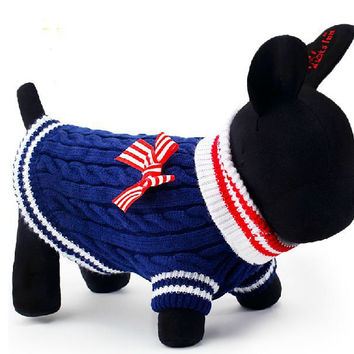 Free shipping Upscale dog clothes Thicken Dog Sweater Pet Winter Clothes Navy Stripe Puppy Apparel Hoodie Cat Clothing