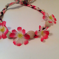 Beachy pink flower crown with mini shells