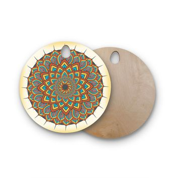 "Famenxt ""Floral Mandala"" Multicolor Geometric Round Wooden Cutting Board"