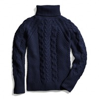 HANDKNIT ARAN POLO NECK SWEATER