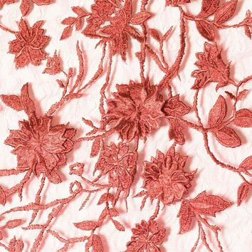 Embroidered Lace 3D Floral Pop Out Flowers Fabric