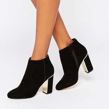 Lipsy Gold Detail Heeled Ankle Boots at asos.com